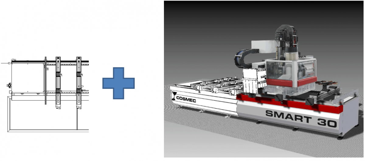 Table de travail de 3100 mm x 1350 mm.  Possibilité d'ajout d'éléments sur l'axe X de 1000 mm, jusqu'à 8100 mm